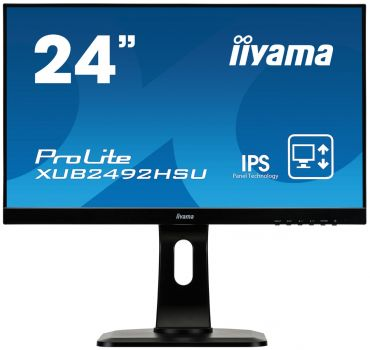 "Iiyama ProLite XUB2492HSU-B1 - Business LED-Monitor - 61 cm (24"") - 1920 x 1080 Full HD- IPS - 250 cd/m² - 1000:1 - 5 ms - HDMI, VGA, DP - Lautsprech."