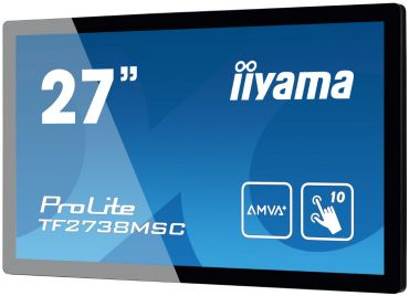 """Iiyama TF2738MSC-B1 - Multi-Touch - 68.6 cm (27"""") - 1920x1080 - A-MVA+ - 300 cd/m2 - 3000:1 - 5 ms - DVI, VGA, HDMI - Lautsprecher - Schwarz"""