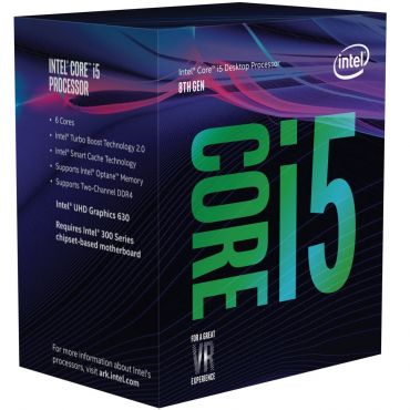 Intel Core i5-8400 (8. Gen.) Coffee Lake - 2.8 GHz - 6 Kerne - 6 Threads - 9 MB Cache-Speicher - LGA1151 Socket - Box