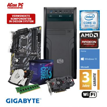 ACom Intel Gen. 8 Gaming 2018 - G8 i3-560 - Windows 10 - Intel Core i3-8100 - 8 GB RAM - 1 TB HDD - Radeon RX 560 4GB - WLAN - 3 Jahre Garantie