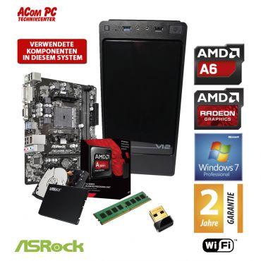 ACom Herbst Special 2018 V2 - Win 7 Pro - AMD A6-7400K - 8 GB RAM - 120 GB SSD + 500 GB HDD - DVD-Brenner - AMD Radeon R5 - USB 3.0 - WLAN