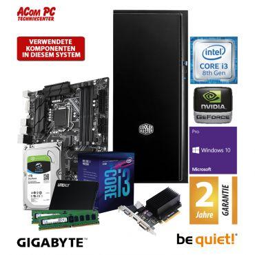 ACom SILENT StilLine-Office-Worker - Win 10 Pro - G8 Intel Core i3-8100 - 8 GB RAM - 240 GB SSD + 1 TB HDD 24/7 - DVD - GT 710