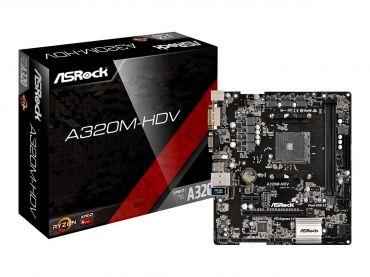 ASRock A320M-HDV - Motherboard micro ATX - Socket AM4 - AMD A320 - USB 3.0 - Gigabit LAN - Onboard-Grafik (CPU erforderlich) - HD Audio (8-Kanal)
