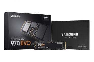 Samsung 970 EVO MZ-V7E250BW - Solid-State-Disk verschlüsselt - 250 GB - intern - M.2 2280 - PCI Express 3.0 x4 (NVMe) - 256-Bit-AES