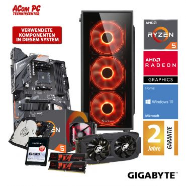ACom Angebot des Monats Gaming AMD Ryzen 5-580 - Win 10 - AMD Ryzen 5 2600 - 16 GB RAM - 480 GB SSD + 2 TB HDD - Radeon RX 580 8 GB
