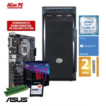 ACom i7 Allrounder G8 2018 - Windows 10 Home - Intel Core i7-8700 - 16 GB RAM - 240 GB SSD M.2 NVMe - DVD-Brenner - USB 3.0 - 500 Watt