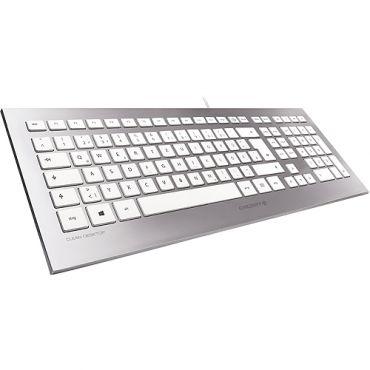 CHERRY STRAIT Corded - Tastatur - USB - Deutsch - weiß, Silber