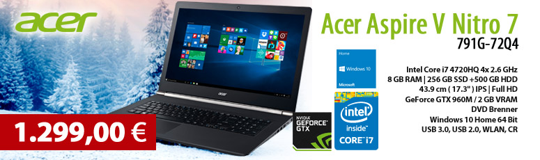 "Acer Aspire V Nitro 7-791G-72Q4 - Core i7 4720HQ / 2.6 GHz - Win10 - 8 GB RAM - 256 GB SSD + 500 GB HDD - DVD - 43.9 cm ( 17.3"" ) - GeForce GTx 960M"