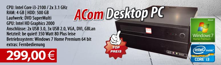 Desktop PC - Win 7 HP/ Intel Core i3-2100/ 4GB RAM/ 500GB/ DVD-Brenner/ leises Be Quiet! 350 Watt Netzteil/ gebrauchte Ware 1 Jahr Gewährleistung