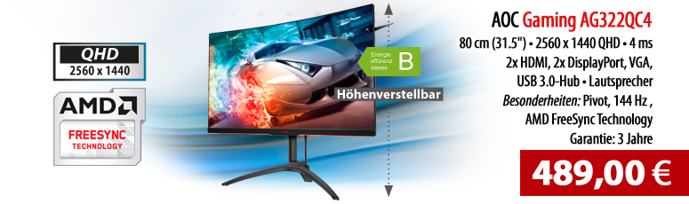"AOC Gaming AG322QC4 - LED-Monitor - 80 cm (31.5"") 2560 x 1440 QHD - VA - 300 cd/m² - 2000:1 - 4 ms - 2xHDMI - 2xDisplayPort - VGA - Lautsprecher"