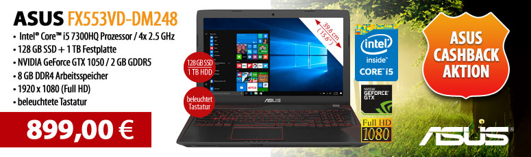 "ASUS FX553VD-DM248 - Core i5 7300HQ / 2.5 GHz - Endless OS - 8 GB RAM - 128 GB SSD + 1 TB HDD - 39.6 cm (15.6"") - NVIDIA GeForce GTX 1050"