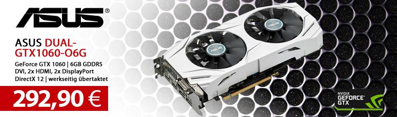 ASUS DUAL-GTX1060-O6G - Grafikkarten - GF GTX 1060 - 6 GB GDDR5 - PCIe 3.0 x16 - DVI, 2 x HDMI, 2 x DisplayPort