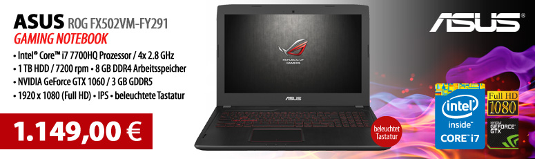 "ASUS ROG FX502VM-FY291 - Core i7 7700HQ / 2.8 GHz - Endless OS - 8 GB RAM - 1 TB HDD - 39.6 cm (15.6"") - GF GTX 1060"