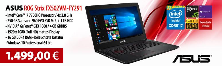 "ASUS ROG Strix Gaming Notebook FX502VM-FY291 - i7 7700HQ - 15.6"" - 16 GB RAM - 250 GB Samsung 960 EVO M.2 SSD + 1 TB HDD - GF GTX 1060 - Win 10 Pro"