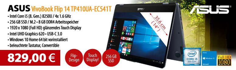 "ASUS VivoBook Flip 14 TP410UA-EC541T - 35.6 cm (14"") Full HD Touchscreen - Core i5 8250U - 8 GB RAM - 256 GB SSD M.2 - Windows 10"