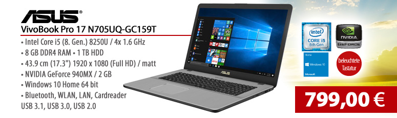 "ASUS VivoBook Pro 17 N705UQ-GC159T - 43.9 cm (17.3"") - Core i5 8250U - 8 GB RAM - 1 TB HDD - Graphics 620 + NVIDIA GeForce 940MX - Win 10"