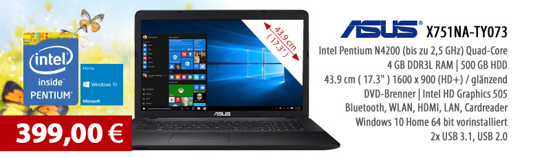 "ASUS X751NA-TY073 17.3"" Notebook - Win 10 H. - Intel Pentium N4200 Quad-Core - 4GB RAM - 500GB HDD - Intel HD Graphics - WLAN - Webcam - DVD-Laufwerk"