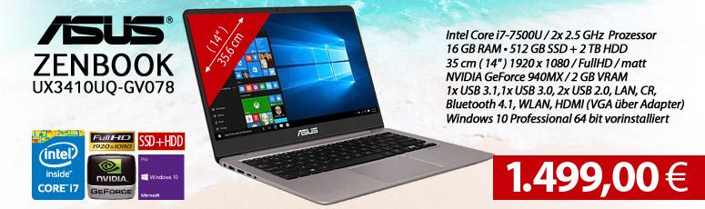 """ASUS ZENBOOK UX3410UQ-GV078 - Core i7 7500U - Win 10 Pro - 16 GB RAM - 512 GB SSD + 2 TB HDD - 35 cm (14"""") entspiegelt Full HD - GeForce 940MX 2 GB"""