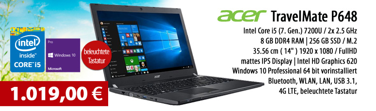 "Acer TravelMate P648 - Win 10 Pro - Intel Core i5-7200U / 2.5 GHz - 8 GB RAM - 256 GB SSD - 35.6 cm (14"") - Intel HD Graphics 620 - 4G - LTE"