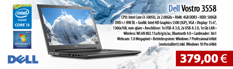 "Dell Vostro 3558 - Core i3 5005U / 2 GHz - Win 7 Pro - 4 GB RAM - 500 GB HDD - DVD - 39.6 cm ( 15.6"" ) - HD Graphics 5500 - Wi-Fi"