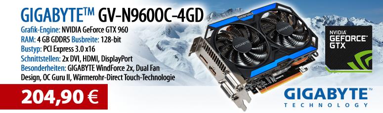 Gigabyte GV-N960OC-4GD (rev. 1.0) - Grafikkarten - GF GTX 960 - 4 GB GDDR5 - PCI Express 3.0 x16 2 x DVI, HDMI, DisplayPort