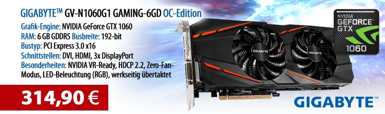 Gigabyte GV-N1060G1 GAMING-6GD - OC Edition - Grafikkarten - GF GTX 1060 - 6 GB GDDR5 - PCIe 3.0 x16 - DVI, HDMI, 3 x DisplayPort