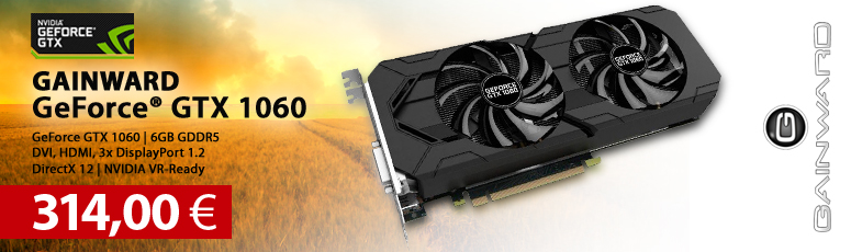 Gainward GeForce GTX 1060 - Grafikkarte - GF GTX 1060 - 6 GB GDDR5 - PCIe 3.0 x16 - DVI, HDMI, 3 x DisplayPort