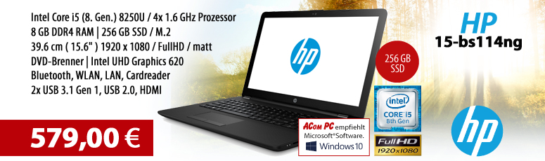 "HP 15-bs114ng - ohne BS - Intel Core i5-8250U - 8 GB RAM - 256 GB SSD M.2 - DVD-Brenner - 39.6 cm (15.6"") (Full HD) - Intel UHD Graphics 620"