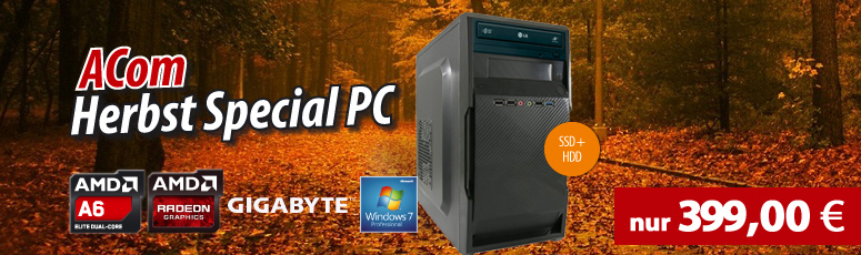 ACom Herbst Special 2017 V3 - Win 7 Pro - AMD A6-6400K - 8 GB RAM - 120 GB SSD + 1 TB HDD - DVD-Brenner - AMD Radeon HD 8470D - USB 3.0 -WLAN
