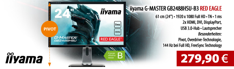 "Iiyama G-MASTER GB2488HSU-B3 - LED-Monitor - 61 cm (24"") - 1920 x 1080 Full HD bei 144 Hz - TN - 350 cd/m² - 1000:1 - 1 ms - 2xHDMI, DVI-D, DP - Lauts"