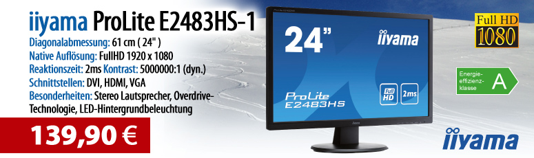 "Iiyama ProLite E2483HS-1 - LED-Monitor - 61 cm ( 24"" ) - 1920 x 1080 FullHD - TN - 250 cd/m2 - 5000000:1 (dyn.)- 2 ms - HDMI, DVI-D, VGA, Lautssprech."