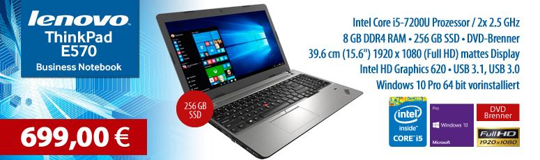 "Lenovo ThinkPad E570 - 39.6 cm (15.6"") FullHD - Core i5 7200U - 8 GB RAM - 256 GB SSD - Intel HD Graphics 620 - Win 10 Pro"