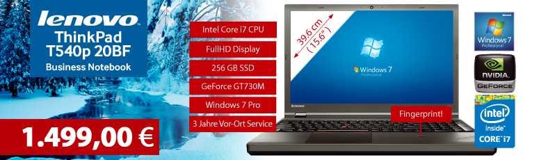 "Lenovo ThinkPad T540p 20BF - Core i7 4910MQ / 2.9 GHz - Win10Pro - 8 GB RAM - 256 GB SDD - DVD - 39.6 cm ( 15.6"" )- FullHD - NVIDIA GeForce GT730M"