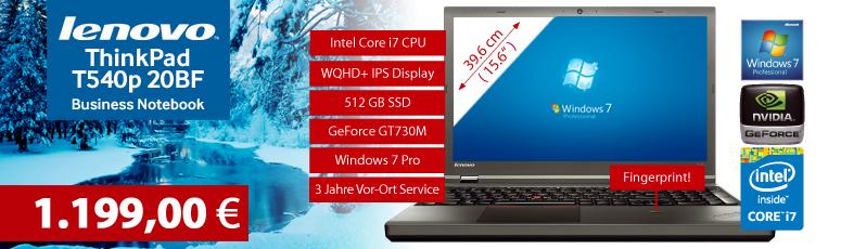 "Lenovo ThinkPad T540p 20BF - IPS 2880 x 1620 Pixel Win7 Pro - i7-4710MQ 4x 2,5GHz- 8 GB RAM - 512 GB SSD - DVD - 39.6 cm ( 15.6"" ) IPS - GF GT 730M"
