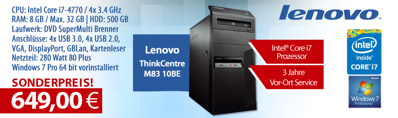 Lenovo ThinkCentre M83 10BE - Core i7 4770 / 3.4 GHz - 8 GB RAM - 500 GB HDD - DVD - HD Graphics 460 - Win 10 Pro - 3 Jahre Garantie