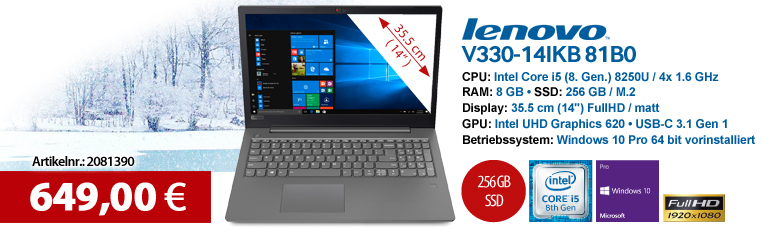 "Lenovo V330-14IKB 81B0 - Win 10 Pro - Core i5 8250U / 1.6 GHz - 8 GB RAM - 256 GB SSD - 35.5 cm (14"") - Intel UHD Graphics 620"