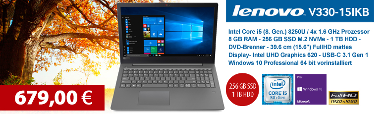"Lenovo V330-15IKB - Win10 Pro - Intel Core i5-8250U / 1.6 GHz - 8 GB RAM - 256 GB SSD M.2 - 1 TB HDD - DVD-Brenner - 39.6 cm (15.6"") - HD Graphics 620"