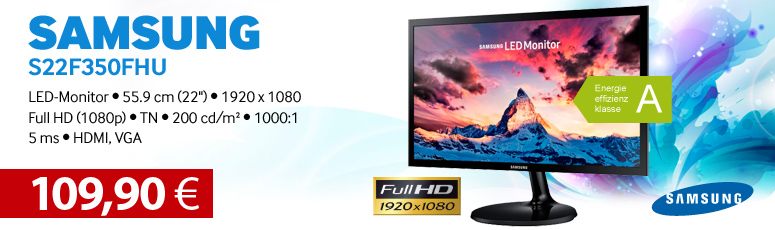 "Samsung SF350 Series S22F350FHU - LED-Monitor - 55.9 cm (22"") - 1920 x 1080 Full HD (1080p) - TN - 200 cd/m² - 1000:1 - 5 ms - HDMI, VGA"