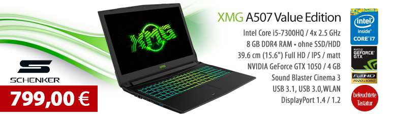 "Schenker XMG A507 Value Edition - Intel Core i5-7300HQ / 2.5 GHz - 8 GB RAM - ohne SSD - ohne HDD - 39.6 cm (15.6"") - NVIDIA GeForce GTX 1050 4 GB"