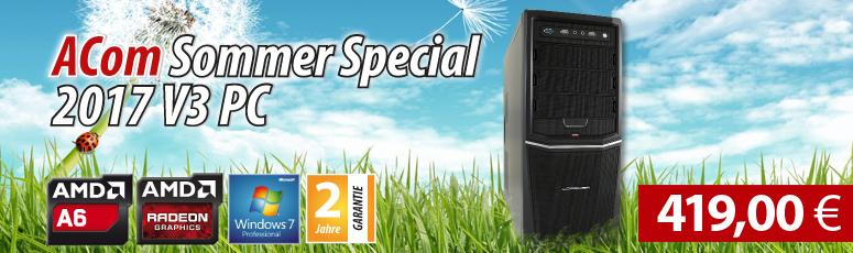 ACom Sommer Special 2017 V3 - Win 7 Pro - AMD A6-6400K - 8 GB RAM - 120 GB SSD + 500 GB HDD - DVD-Brenner - AMD Radeon HD 8470D - USB 3.0 -WLAN