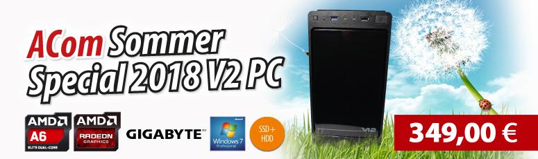 ACom Sommer Special 2018 V2 - Win 7 Pro - AMD A6-6400K - 8 GB RAM - 120 GB SSD + 1 TB HDD - DVD-Brenner - AMD Radeon HD 8470D - USB 3.0 - WLAN