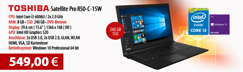 "Toshiba Satellite Pro R50-C-15W - Win 10 Pro - Core i3-6006U - 8 GB RAM - 240 GB SSD - DVD - 39.6 cm (15.6""), entspiegelt - Intel HD 520 - WLAN, BT"