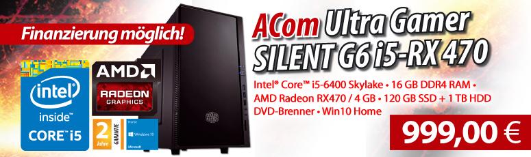 ACom Ultra Gamer SILENT G6 i5-RX 470 - Win 10 Pro - Intel® Core™ i5-6400 Skylake - 16 GB RAM - 120 GB SSD + 1 TB HDD - DVD-Brenner - Radeon RX 470 4GB