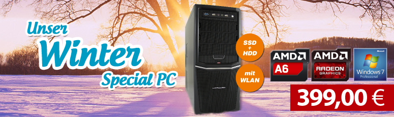 ACom Winter Special 2017 - Win 7 Pro - AMD 6400K - 8 GB RAM - 120 GB SSD + 500 GB HDD - DVD-Brenner - AMD Radeon HD 8470D - USB 3.0 -WLAN
