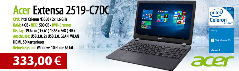 "Acer Extensa 2519-C7DC - Celeron N3050 / 1.6 GHz - Windows 10 - 4 GB RAM - 500 GB HDD - DVD - 39.6 cm ( 15.6"" ) - Intel HD Graphics - Schwarz"