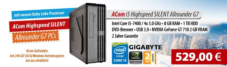 ACom i5 Highspeed SILENT Allrounder G6 - ohne Win - Intel Core i5-6400 - 8 GB RAM - ohne SSD + 500 GB HDD - DVD-Brenner - USB 3.0 - GF GT 710 2 GB