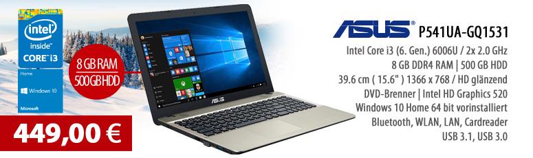 "ASUS P541UA-GQ1531 Notebook - Win 10 Home - Intel Core i3-6006U - 8 GB RAM - 500 GB HDD - DVD SuperMulti - 39.6 cm (15.6"") entspiegelt - USB 3.1, WLAN"