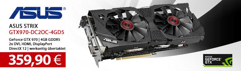 ASUS STRIX-GTX970-DC2OC-4GD5 - Grafikkarten - GF GTX 970 - 4 GB GDDR5 - PCI Express 3.0 x16 - 2 x DVI, HDMI, DisplayPort
