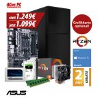 ACom Ultra Gamer - Win 10 - AMD Ryzen 7 1700X - 16 GB RAM - 525 GB SSD - 2 TB HDD - DVD-Brenner - 600 Watt Netzteil - Grafikkarte optional