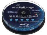MediaRange Inkjet Fullsurface-Printable - 10 x BD-R DL - 50 GB 6x - mit Tintenstrahldrucker bedruckbare Oberfläche - Spindel